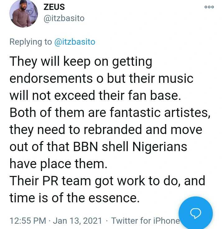 Laycon & Vee's music will not pass their fan base - Fan writes
