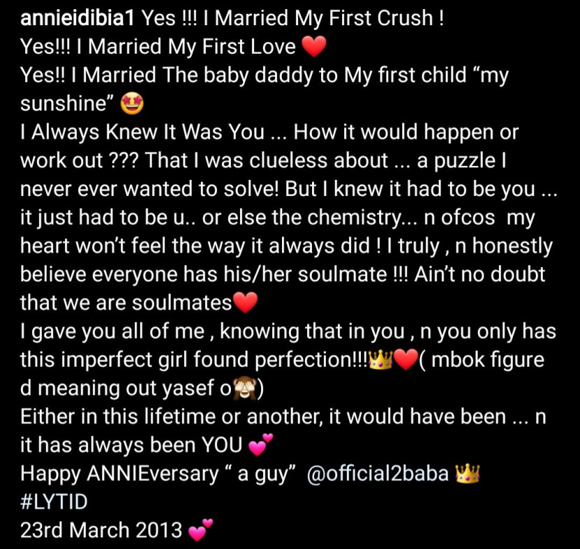 Annie Idibia expresses her love for Tuface with beautiful words as they celebrate wedding anniversary