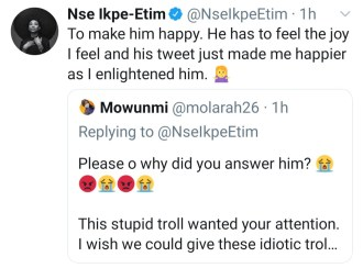 "Nse Ikpe-Etim Reacts To Follower Who Asked Her ""Why Did You Sell Out Your Womb?"""