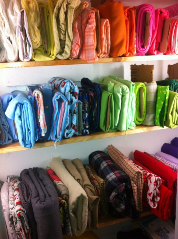 I organized the fabric by color