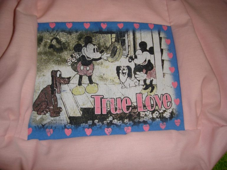 T-shirt print used as purse front pocket