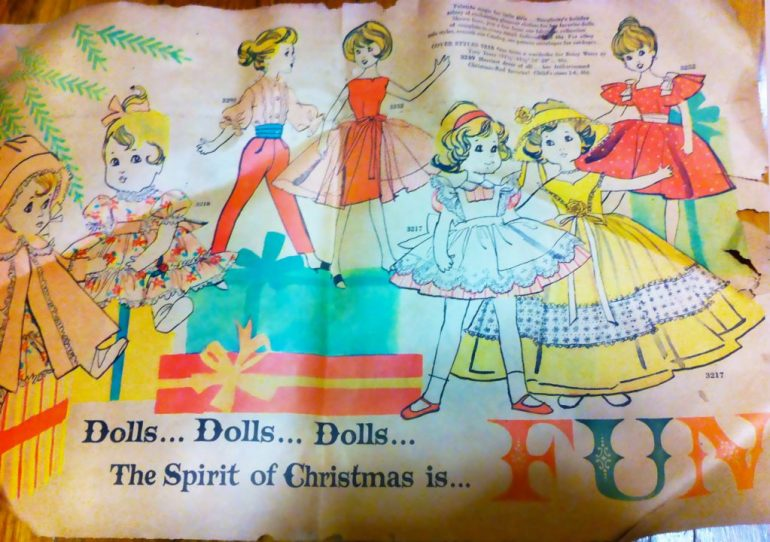Apparently doll dress patterns were big for Christmas in 1959