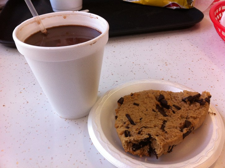 Carthage Deli & Ice Cream hot chocolate and chocolate chip scone.