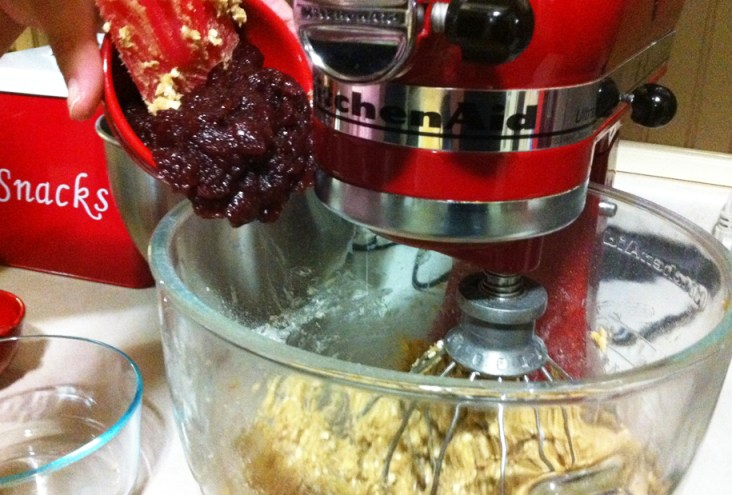 Adding the Cranberry Relish to the batter