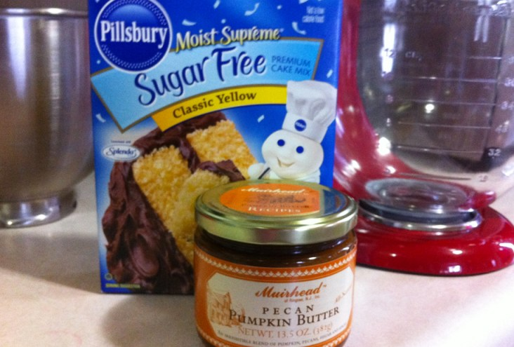 Just two ingredients a cake mix and a can or jar of pumpkin
