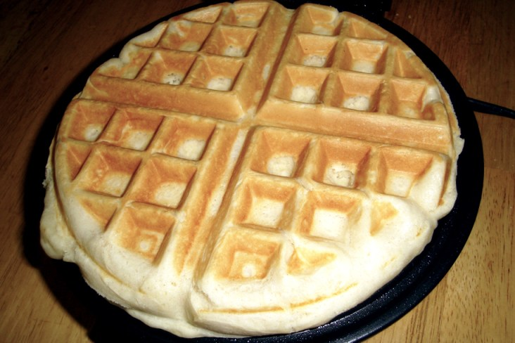 Plain waffle hot on the grill