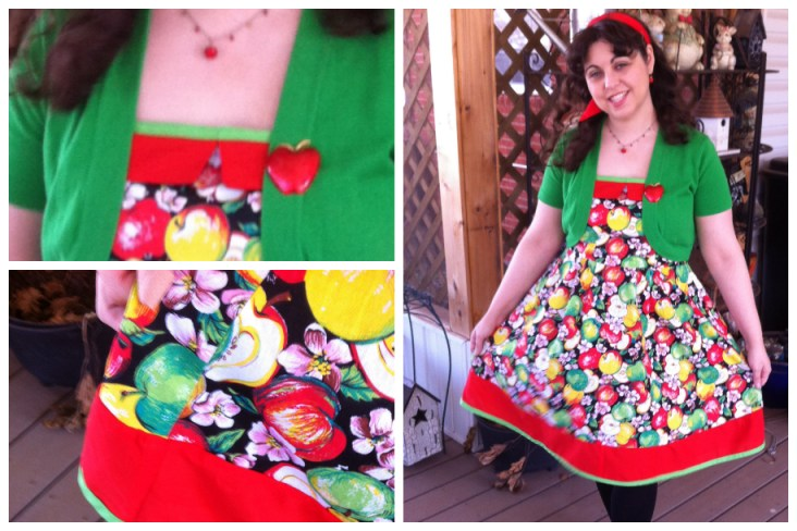 Color block of red and added green trim on the top and bottom of the dress