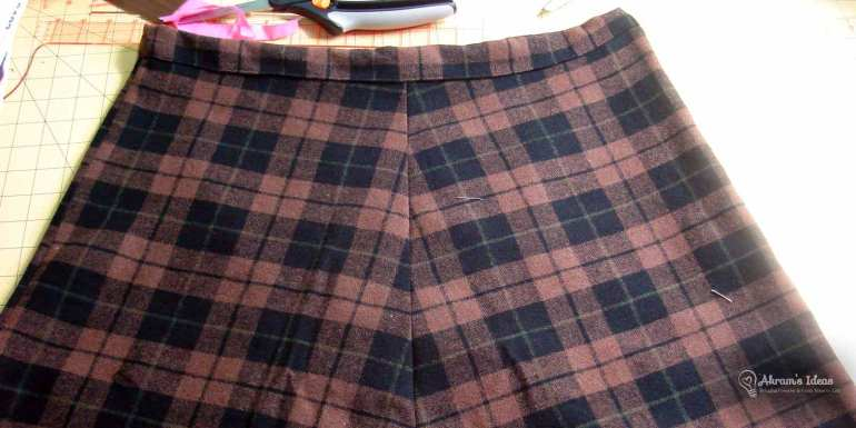 Completed skirt with narrow waistband