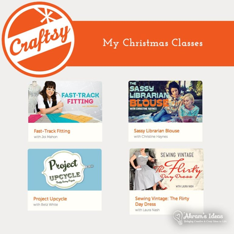 My Craftsy classes I got for Christmas