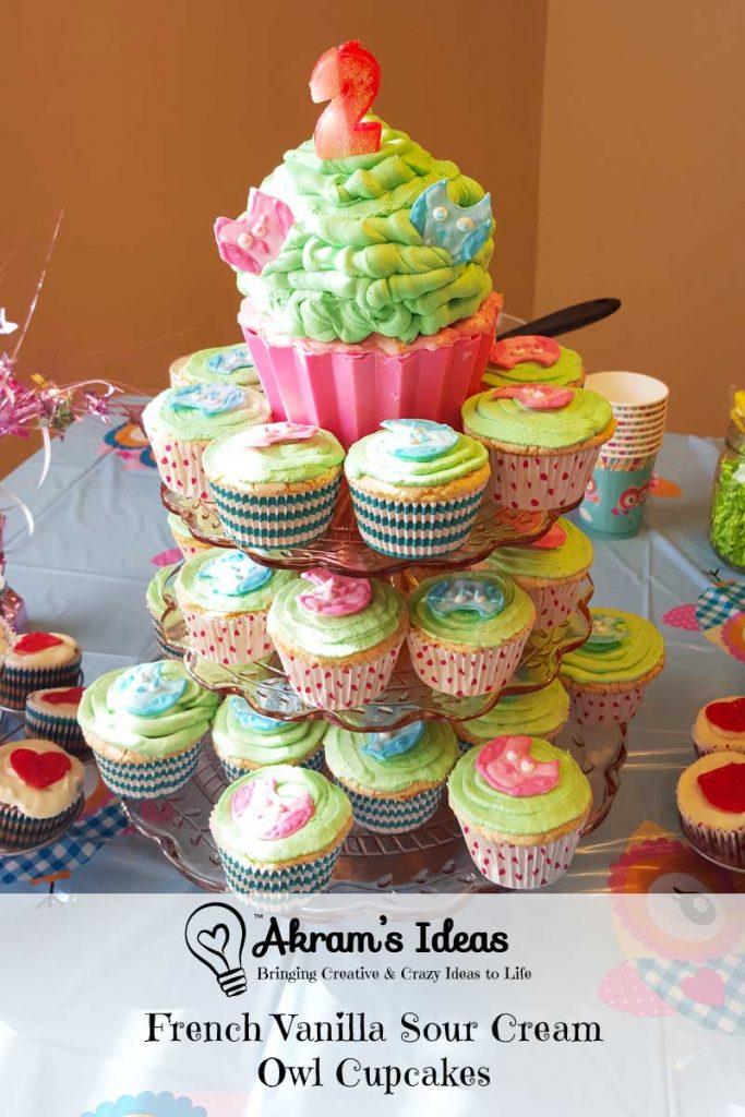 Akram's Ideas: French Vanilla Sour Cream Owl Cupcakes