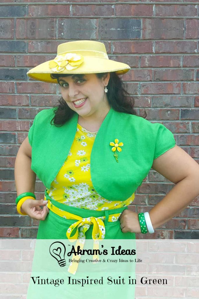 Vintage inspired suit in green made by combining Tilly and the Buttons Delphine skirt, Butterick 6354 Bolero and Simplicity 1364 blouse.