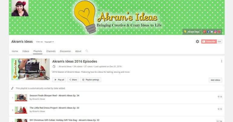 Akram's Ideas 2016 Youtube Stats
