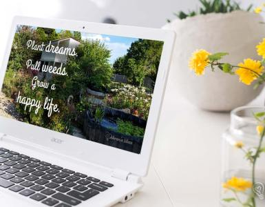Inspiration from the garden for April, national gardening month. Download this FREE set of 4 desktop wallpapers, from Akram's Ideas