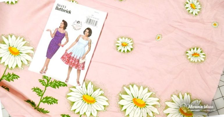 Buttierick 6453 and Pink Daisy boarder print