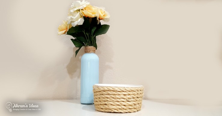 Learn how to make a stylish DIY rope basket using a Cool Whip container, rope, and a glue gun. The perfect size for holding small items.