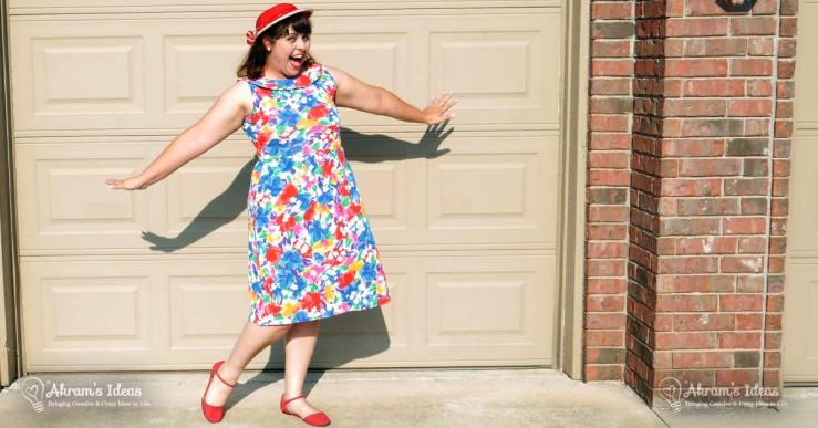 Review of my Summer Moneta dress made in a colorful and bright floral print featuring a sleeveless bodice and r