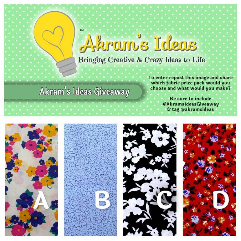 To enter repost this image and share which fabric prize pack would you choose and what would you make? Be sure to include #AkramsIdeasGiveaway & tag @akramsideas
