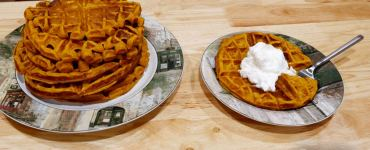 Celebrate autumn with this recipe for pumpkin waffles, that tastes like a pie!