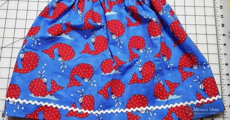 Review of three novelty gathered skirts made with an elastic waist and side seam pockets and another Butterick 3286 top.