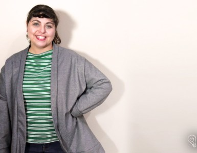 Review of my Cozy Cardi Challenge make, the In the Folds Slouch Cardigan a quick and easy pattern that also free.