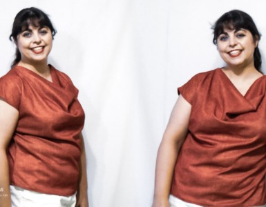 Showing off two of my latest blouses, made with the Pomegranate Top pattern using a stretch polyester, featuring a cowl neck and kimono sleeves. A great top for spring and summer.