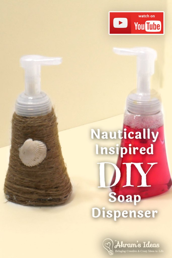 Step by step guide to making a nautical inspired diy soap dispenser using jute twine, a seashell and a little hot glue.