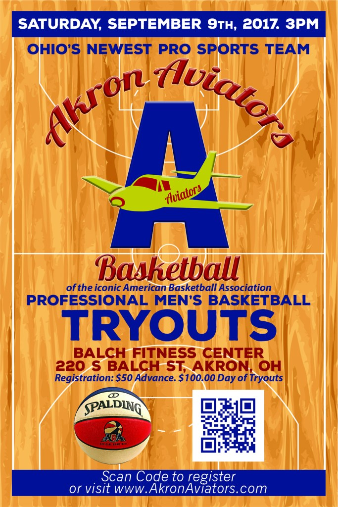 akron aviators, tryouts, men's basketball, aba,