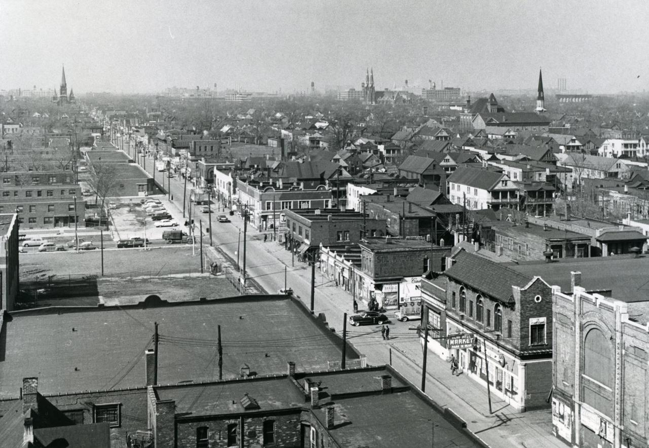 Photo from the Detroit Historical Society<br> Looking north along Hastings Street.
