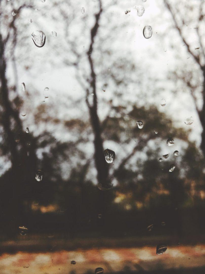 drops on a windowpane