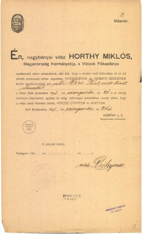 Déri Pál avatási oklevelének másolata, 1921 P 1709 Vitézi Rend, 20. tétel: Avatási oklevelek, No. 2.