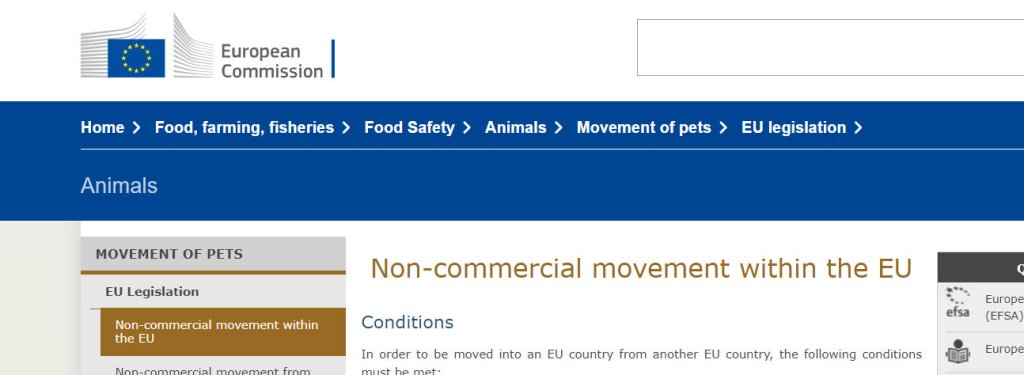 Non-commercial movement of animals within the EU