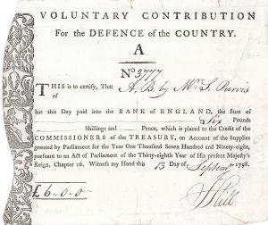 Kingdom of Great Britain, London, Voluntary Contribution for the Defence of the Country, Nationalanleihe für die Verteidigung des Landes im Kampf gegen Napoleon über 100 £ von 1798