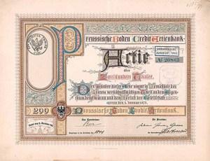 Preussische Boden Credit Actienbank, Berlin, Gründeraktie über 200 Taler von 1873