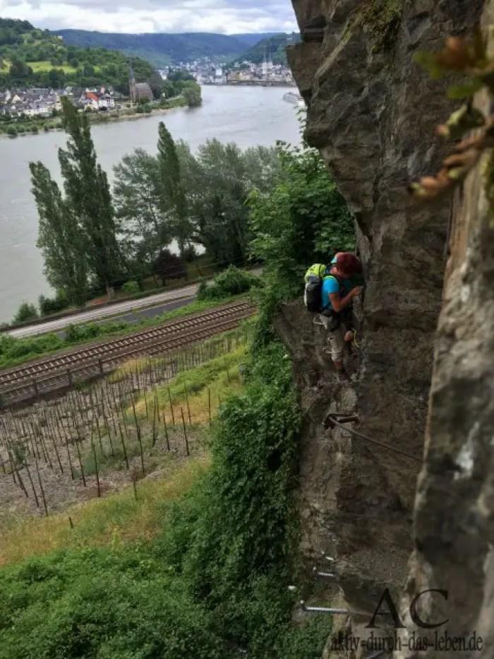 Schwierigste Stelle des Klettersteiges.