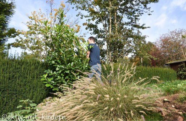 Stefan bei der Gartenarbeit