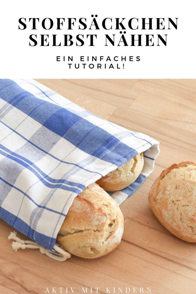 Stoffsäcken beziehungsweise Brotbeutel aus alten Küchenhandtüchern selbst nähen