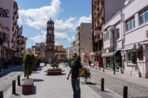 Canakkale street with clock tower