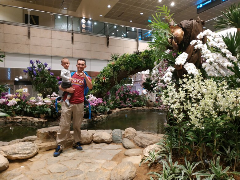 With a toddler in Changi Airport Singapore