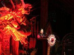 Ketua Umum PDI Perjuangan Megawati Soekarnoputri memberikan pidato pembukaan Kongres V PDIP