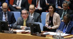 Wakil Tetap RI untuk PBB di New York Dian Triansyah Djani dalam pertemuan Dewan Keamanan (DK) PBB mengenai Suriah, di New York, AS, Rabu (19/2/2020). (PTRI New York)