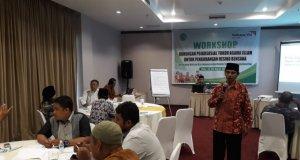 Drs Ulumuddin M.SI menyampaikan materi pada workshop dukungan psikososial tokoh agama Islam untuk pengurangan resiko bencana, di Palu, Sabtu. Foto : ANTARA