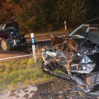 Fünf Verletzte bei Frontalzusammenstoß zwischen PKW und E-Auto