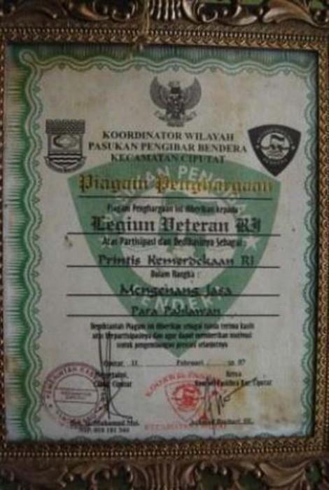 Piagam Penghargaan Untul Legiun Veteran RI