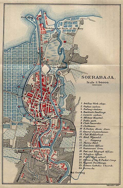 Peta Surabaya pada masa pemerintahan Belanda