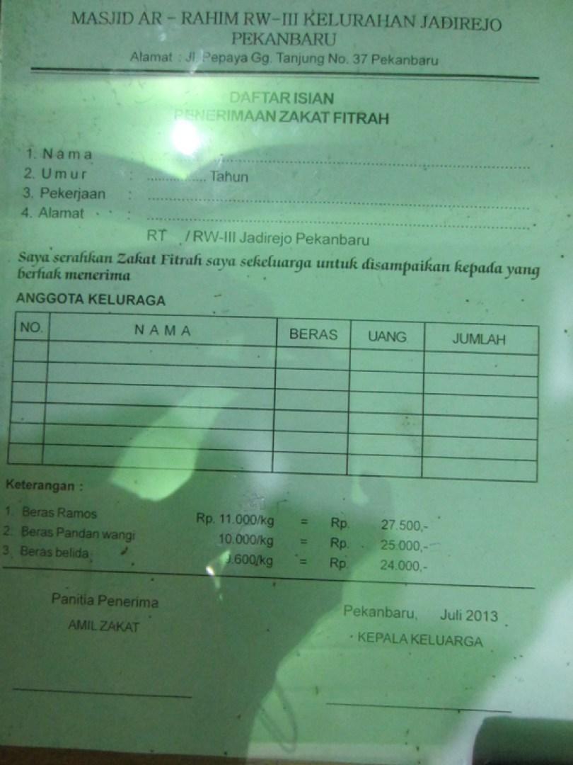Formulir keterangan membayar zakat fitrah Masjid Ar-Rahim.
