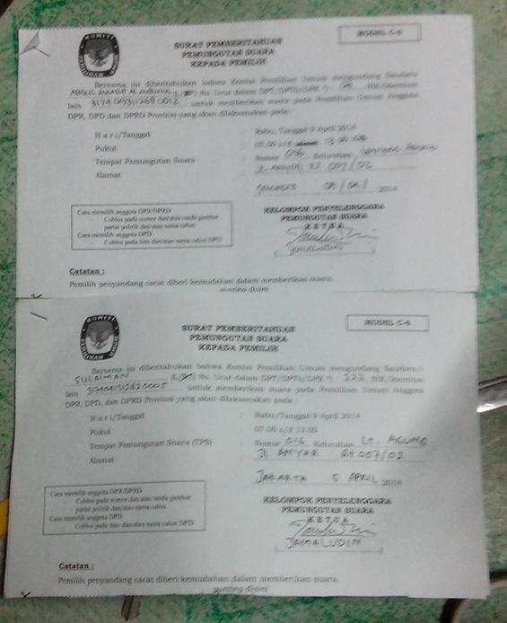 Contoh surat forumulir C6 (milik Mba Minah dan keluarga, tetanga saya di Forum Lenteng).