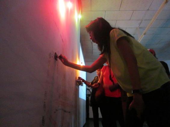 The visitors drew a map in Prilla Tania's work
