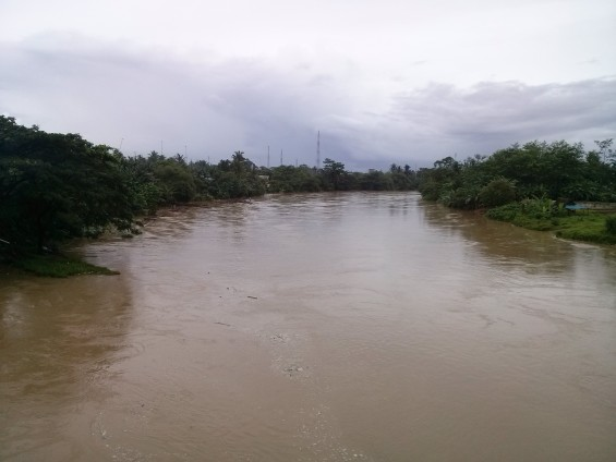 Ciujung was viewed from above the road bridge Sukarno-Hatta in Rangkasbitung.