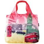 ロンドンの代表的な風景図柄 撥水性も備えているエコバッグ。丸めて持ち運べる設計