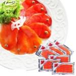 カナダ産サーモン キングサーモンと紅鮭の2 種類、100g のスライスパック。